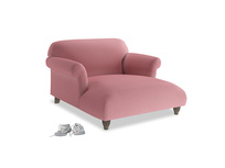 Soufflé Love Seat Chaise in Dusty Rose clever velvet