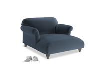 Soufflé Love Seat Chaise in Liquorice Blue clever velvet