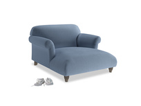 Soufflé Love Seat Chaise in Winter Sky clever velvet