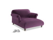 Soufflé Love Seat Chaise in Grape clever velvet