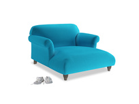 Soufflé Love Seat Chaise in Azure plush velvet