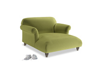 Soufflé Love Seat Chaise in Olive plush velvet