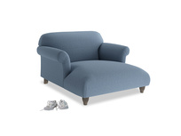 Soufflé Love Seat Chaise in Nordic blue brushed cotton