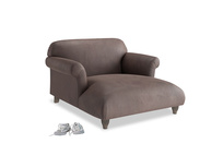 Soufflé Love Seat Chaise in Dark Chocolate beaten leather