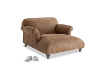 Soufflé Love Seat Chaise in Walnut beaten leather