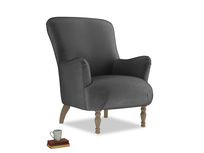 Gramps Armchair in Scuttle grey vintage velvet