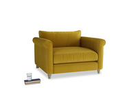 Weekender Love seat in Burnt yellow vintage velvet