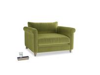 Weekender Love seat in Olive plush velvet