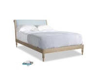 Double Darcy Bed in Soothing blue washed cotton linen