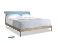 Superking Darcy Bed in Moroccan blue clever woolly fabric