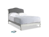 Double Coco Bed in Scuffed Grey in Strong grey clever woolly fabric