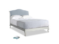 Double Coco Bed in Scuffed Grey in Frost clever woolly fabric