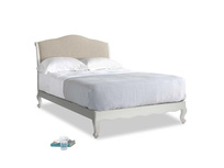 Double Coco Bed in Scuffed Grey in Flagstone clever woolly fabric