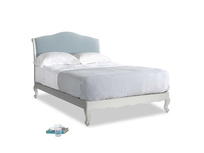 Double Coco Bed in Scuffed Grey in Soothing blue washed cotton linen