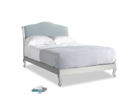 Double Coco Bed in Scuffed Grey in Scandi blue clever cotton