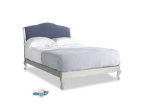 Double Coco Bed in Scuffed Grey in Breton blue clever cotton