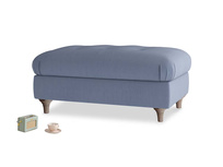 Rectangle Jammy Dodger Footstool in Breton blue clever cotton