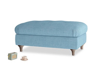 Rectangle Jammy Dodger Footstool in Moroccan blue clever woolly fabric