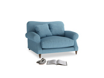 Crumpet Love seat in Moroccan blue clever woolly fabric