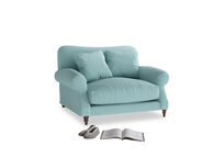 Crumpet Love seat in Adriatic washed cotton linen