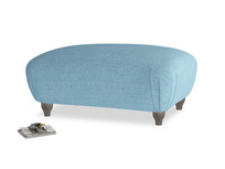 Rectangle Homebody Footstool in Moroccan blue clever woolly fabric