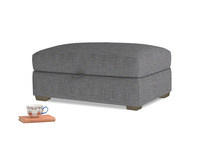 Bumper Storage Footstool in Strong grey clever woolly fabric
