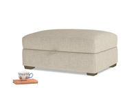 Bumper Storage Footstool in Flagstone clever woolly fabric