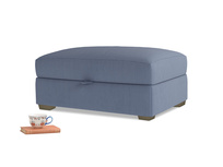 Bumper Storage Footstool in Breton blue clever cotton