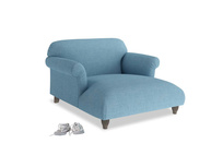 Soufflé Love Seat Chaise in Moroccan blue clever woolly fabric