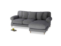 Large right hand Crumpet Chaise Sofa in Strong grey clever woolly fabric