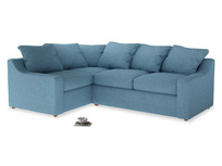 Large Left Hand Cloud Corner Sofa in Moroccan blue clever woolly fabric