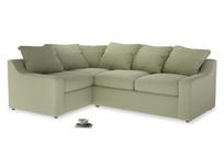 Large Left Hand Cloud Corner Sofa in Old sage washed cotton linen