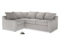 Large Left Hand Cloud Corner Sofa in Lunar Grey washed cotton linen