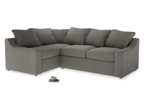 Large Left Hand Cloud Corner Sofa in Monsoon grey clever cotton