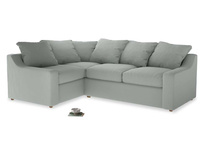 Large Left Hand Cloud Corner Sofa in Eggshell grey clever cotton