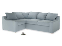 Large Left Hand Cloud Corner Sofa in Scandi blue clever cotton