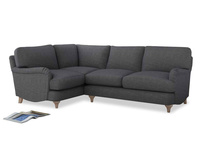 Large Left Hand Jonesy Corner Sofa in Strong grey clever woolly fabric