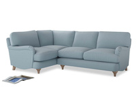 Large Left Hand Jonesy Corner Sofa in Soothing blue washed cotton linen