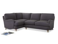Large Left Hand Jonesy Corner Sofa in Graphite grey clever cotton