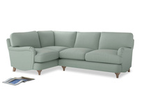 Large Left Hand Jonesy Corner Sofa in Sea surf clever cotton