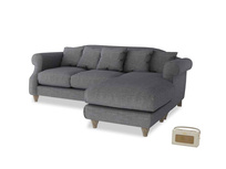 Large right hand Sloucher Chaise Sofa in Strong grey clever woolly fabric