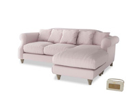 Large right hand Sloucher Chaise Sofa in Dusky blossom washed cotton linen