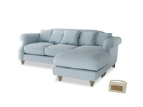 Large right hand Sloucher Chaise Sofa in Soothing blue washed cotton linen