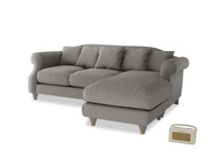 Large right hand Sloucher Chaise Sofa in Monsoon grey clever cotton