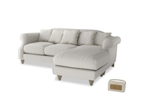 Large right hand Sloucher Chaise Sofa in Moondust grey clever cotton
