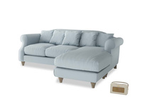Large right hand Sloucher Chaise Sofa in Scandi blue clever cotton