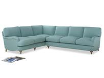 Xl Left Hand Jonesy Corner Sofa in Adriatic washed cotton linen