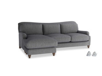 Large left hand Pavlova Chaise Sofa in Strong grey clever woolly fabric