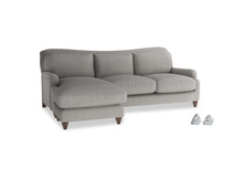 Large left hand Pavlova Chaise Sofa in Marl grey clever woolly fabric