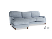 Large left hand Pavlova Chaise Sofa in Frost clever woolly fabric